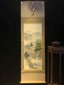 溪山流水和风日本回流字画古玩肉笔手绘挂轴原装真迹现货