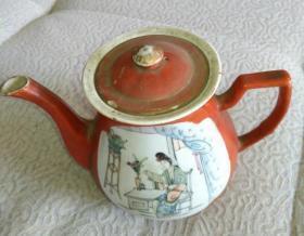 清开窗彩仕女读书大茶壶,传世完美