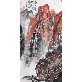 石鲁作品精品山水名家字画名人书画石鲁精品之作。带鉴 定证书保真纯手绘 杜绝印刷品 杜绝喷绘品 一手货源,只此一幅,手慢无。软片未裱尺寸:105x50