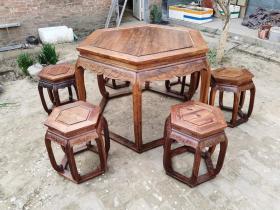 古董古玩木器老家具海南黄花梨六角桌