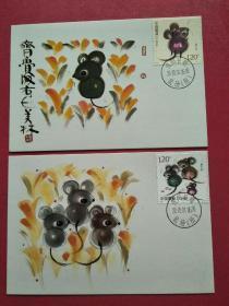 2020-1庚子年鼠邮票 极限片(鼠场戳)韩美林画