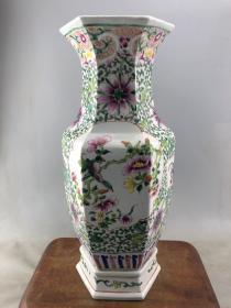 粉彩花鸟大瓷瓶B1755