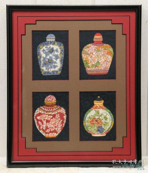 创意挂画 染织花瓶4枚 附实木框 日本制作 中国瓷瓶 民国风旧物