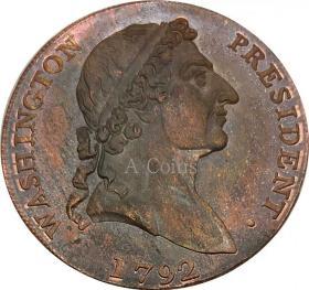 美国1792年华盛顿罗马头分硬币钱币