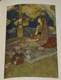 1906年Stories from the Arabian Nights 埃德蒙•杜拉克插画经典《一千零一夜》珍贵善本 12张绝美彩色插图 布面精装 原书衣全 品相绝佳