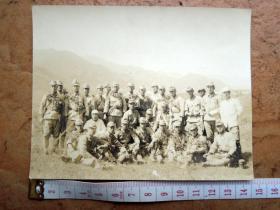 云南老照片收藏180601-滇西抗战日军鬼子集体合影-野外大幅原版