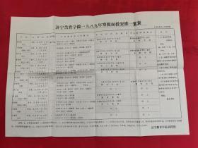 济宁教育学院1989年寒假面授安排一览表