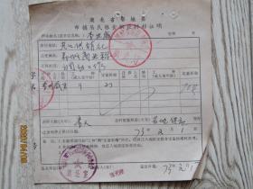 1973年湖北省鄂城县农村粮油供应转移证[李世威]