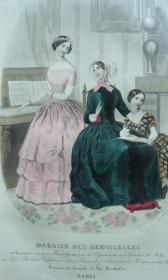 1848年 Magasin Des Demoiselles 最早的女性时尚图鉴《闺阁备要》 珍贵1版1印 精美手工上色蚀刻版画插图 大开本 品上佳
