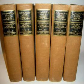 Plutarch Lives 普鲁塔克史学经典名著 《希腊罗马名人传》布面精装 毛边版  全五卷 1900 年左右出版 品相极佳  著名的Dryden 英译本收藏精品