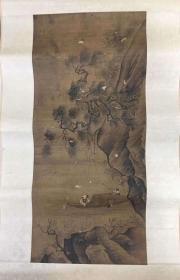 明清绢本人物古画,矿彩 苏东坡泛游赤壁图。局部有破损。