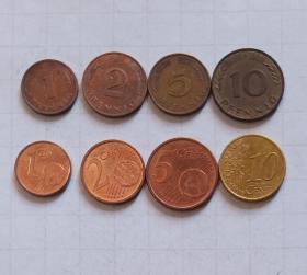 德国 硬币 8枚旧品 外国钱币