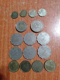 香港硬币16枚合售:10元1枚(1995)、5元1枚(2013)、2元6枚(1993.1994.1997×3枚.2013)、伍毫4枚(1998×3.2015)、贰毫2枚(1997)、壹毫2枚(1997)、