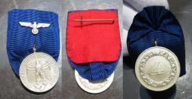 第三帝国徽章勋章 德国二战陆军4年长期服役奖章,军官礼服挂,1936年3月16日设立