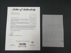 通俗小说之王 大仲马 Alexandre Dumas 有关茶会邀请的亲笔信 PSA鉴定 世界名著《基督山伯爵》《三个火枪手》作者
