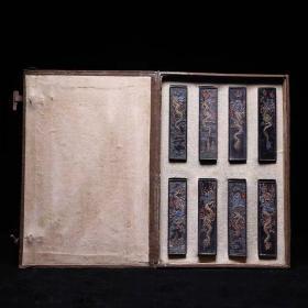 1986年采用明代老墨版制《龙光万载》收藏套装老墨块古法油烟徽墨