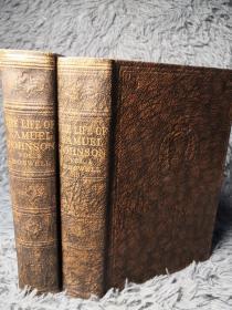 THE LIFE OF SAMUEL JOHNSON  《约翰逊传》 2本全 书顶刷粉 ODHAMS 出版 19x13.2cm