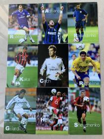 罗本+亨利+切赫+吉拉迪诺+卡卡+舍普琴科等足球之夜2005年日历系列9张球星卡打包出售
