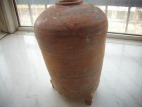 汉代【三足红陶粮仓】!有个足粘修过!高26厘米,底径14厘米