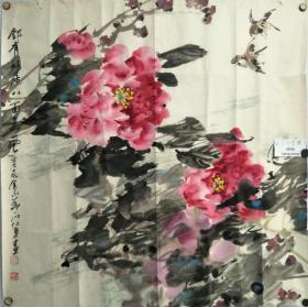 【文星阁保真字画】石仁勇,原连云港文化局长著名画家。花鸟,68X68保真。