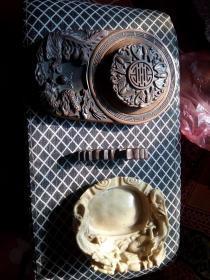 砚LP、实木龙形笔山笔搁、【二龙戏珠】多功能精美雕刻笔洗烟缸、陶瓷印泥 四件套