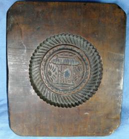 清代木雕糕饼模雕月宫玉兔捣药双面工边有长治咸丰墨书杂项收藏