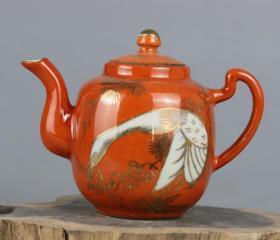 民国大师余元昌造珊瑚红釉描金松鹤延年茶壶 仿古瓷器古玩茶具