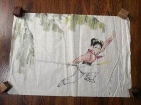 无款(大约八十年代)人物《芭蕉   舞剑女孩图》