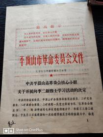 文革资料:平顶山市革命委员会文件1971