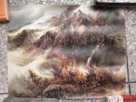 画布上山水油画