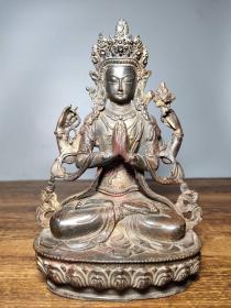 旧藏老铜胎开光撒朱砂佛像  四壁观音菩萨一尊   恭请供奉佛像摆件高21厘米长14厘米宽8.5厘米,重1140克