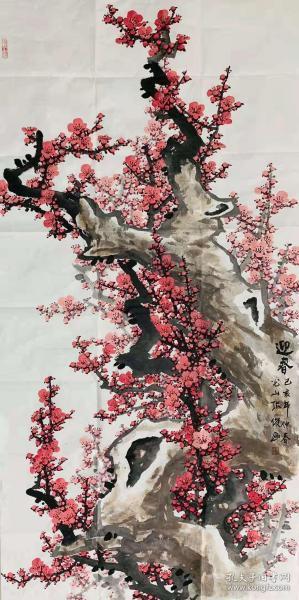 【终身保真名家字画】张俊,140*70 cm迎春图