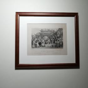 [江湖郎中]西洋铜版画,著名画家托马斯.阿罗姆(Thomas Allom)原作。1843年刻印。《An Itinerant Doctor at Tien-Sing China》少有的中国题材西洋版画。非现代印刷品! 框尺寸:38.5X33.5cm。  画芯尺寸:24.5x19.5cm