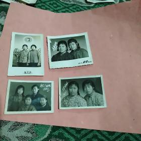 文革时期女子合影照4张合售(尺寸不一)