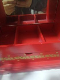 民俗物件【梳妆首饰盒,有镜子】