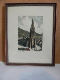 【4】德国着色铜版画带原框《尖塔风景》,画家本人签名。
