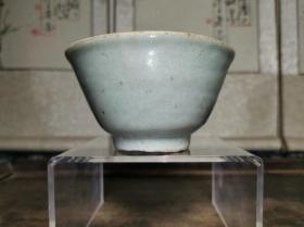 清代民俗瓷器民间传世真品青花底款豆青釉酒杯