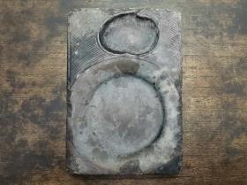 清代传世文房古砚台雕刻桃形砚池地方石质砚台
