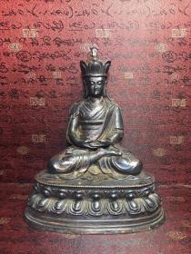 珍藏纯铜贴金点朱砂彩地藏王菩萨 包浆不错