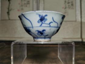 清代民俗瓷器青花灵芝纹酒杯茶盏百年历史传世真品