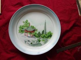 凉亭宝塔搪瓷盘