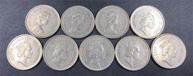 香港1元 女皇头 硬币 1978-1992年9枚一套 已退出流通 流通好品