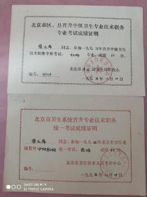 1995年《考试成绩证明》2张