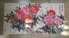 书画家【李涛】又名:李小涛 国画 富贵凝香(137*70cm) 附赠《李涛画集》画册