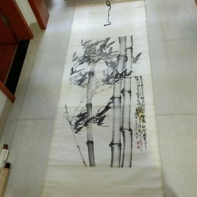 安徽著名画家,皖北画院院长,一级美术师(孙德文)国画竹子   原裱立轴