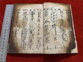 晚清民国道家法术符咒毛笔手抄本《诸事归综》,书内收录大量符咒治病的秘法。如食物卡喉、犬咬等
