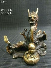 旧藏仿大明宣德铜鎏金案头雅玩《祥龙戏珠》笔架一件此件藏品器形精巧栩栩如生104039