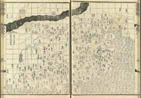 《广舆图》明代罗洪先根据元代朱思本的《舆地图》编绘。这是我国第一部综合性全国地图集。全书共两卷,其内容既包括政区图、边防图,又有专题图、周边地图及邻国地图,每幅地图后面都附有简短说明和解释图。此本为明万历7年(1579)海虞钱岱刊本,前有序七篇。