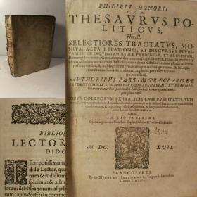 1617年 Philippi Honorii I.U.D. Thesaurus. Politics. Law. Honorius. Bellus. 2卷合一  拉丁语  Politics & Government  25X19X6.5CM   j精制皮纸装帧