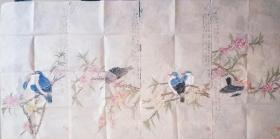 当代著名画家杨绪伟老师34*68*4花鸟条屏,带合影视频